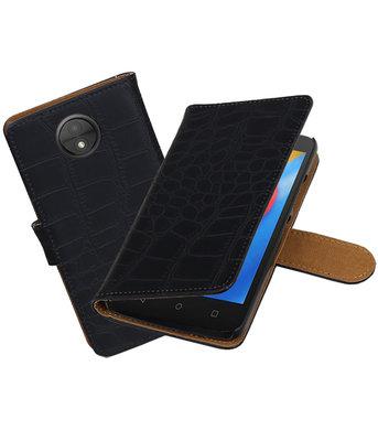 Hoesje voor Motorola Moto C Krokodil booktype Zwart