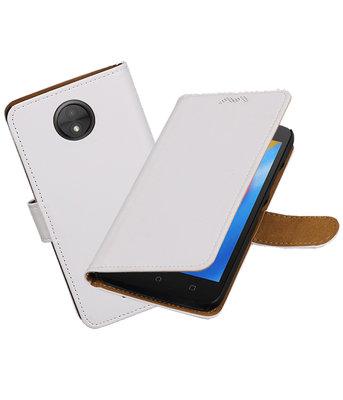 Hoesje voor Motorola Moto C Effen booktype Wit