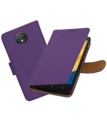 Hoesje voor Motorola Moto C Plus Effen booktype Paars