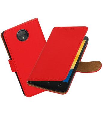 Hoesje voor Motorola Moto C Plus Effen booktype Rood