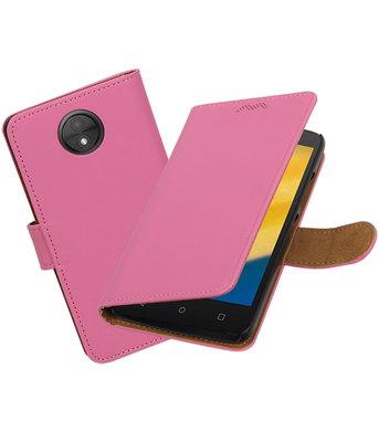 Hoesje voor Motorola Moto C Plus Effen booktype Roze