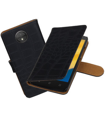 Hoesje voor Motorola Moto C Plus Krokodil booktype Zwart