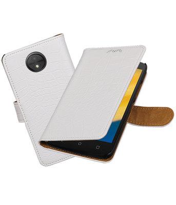 Hoesje voor Motorola Moto C Plus Krokodil booktype Wit