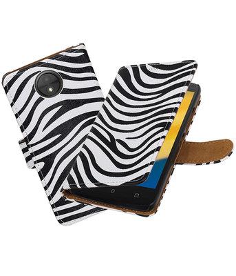 Hoesje voor Motorola Moto C Plus Zebra booktype