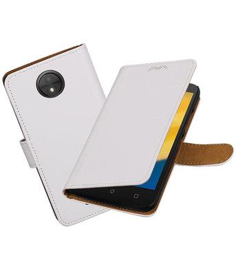 Hoesje voor Motorola Moto C Plus Effen booktype Wit