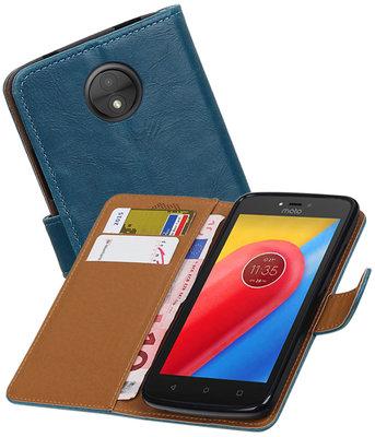 Hoesje voor Motorola Moto C Pull-Up booktype Blauw