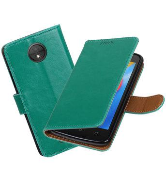 Hoesje voor Motorola Moto C Pull-Up booktype Groen