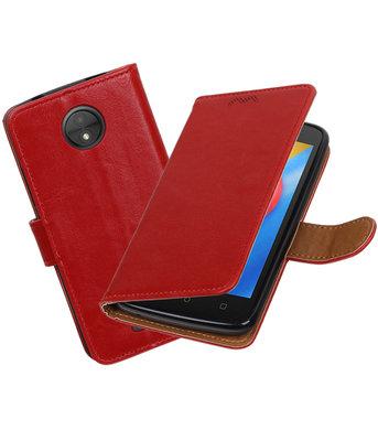 Hoesje voor Motorola Moto C Pull-Up booktype Rood