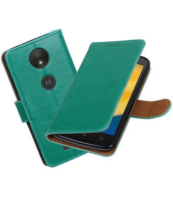 Hoesje voor Motorola Moto C Plus Pull-Up booktype Groen