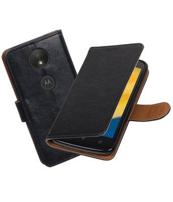 Hoesje voor Motorola Moto C Plus Pull-Up booktype Zwart