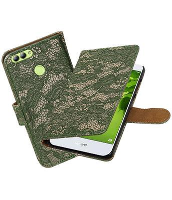 Hoesje voor Huawei nova 2 Lace booktype Donker Groen
