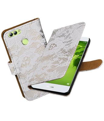 Hoesje voor Huawei nova 2 Lace booktype Wit