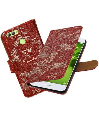 Hoesje voor Huawei nova 2 Lace booktype Rood