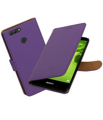 Hoesje voor Huawei nova 2 Plus Effen booktype Paars