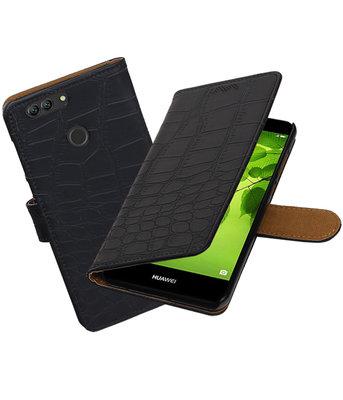 Hoesje voor Huawei nova 2 Plus Krokodil booktype Zwart