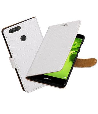 Hoesje voor Huawei nova 2 Plus Krokodil booktype Wit