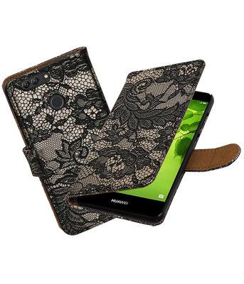 Hoesje voor Huawei nova 2 Plus Lace booktype Zwart