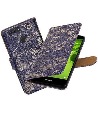 Hoesje voor Huawei nova 2 Plus Lace booktype Blauw