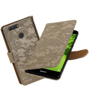 Hoesje voor Huawei nova 2 Plus Lace booktype Goud