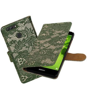 Hoesje voor Huawei nova 2 Plus Lace booktype Donker Groen