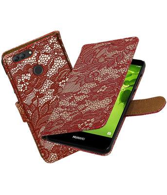 Hoesje voor Huawei nova 2 Plus Lace booktype Rood