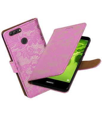 Hoesje voor Huawei nova 2 Plus Lace booktype Roze