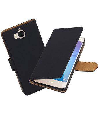 Huawei Y5 2017 / Y6 2017 Effen booktype hoesje Zwart