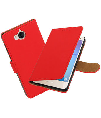 Huawei Y5 2017 / Y6 2017 Effen booktype hoesje Rood