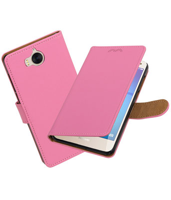 Huawei Y5 2017 / Y6 2017 Effen booktype hoesje Roze