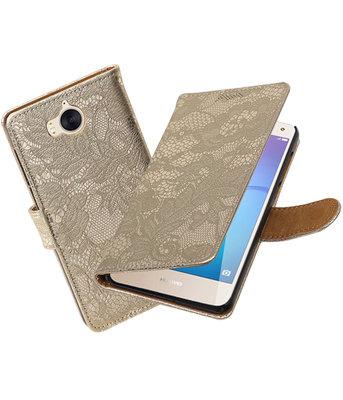 Huawei Y5 2017 / Y6 2017 Lace booktype hoesje Goud