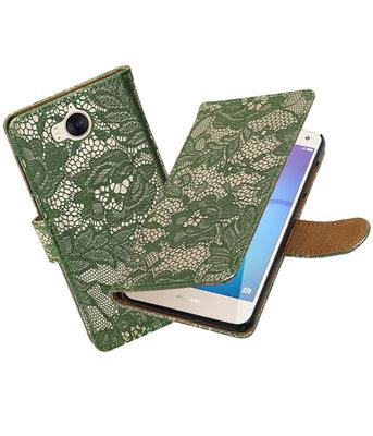 Huawei Y5 2017 / Y6 2017 Lace booktype hoesje Donker Groen