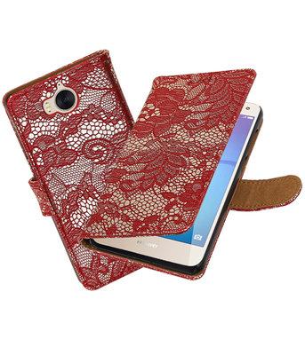 Huawei Y5 2017 / Y6 2017 Lace booktype hoesje Rood