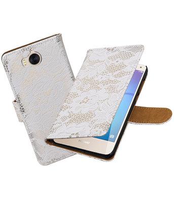 Huawei Y5 2017 / Y6 2017 Lace booktype hoesje Wit
