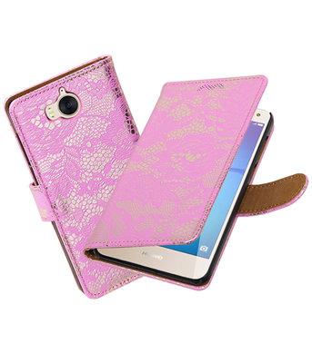 Huawei Y5 2017 / Y6 2017 Lace booktype hoesje Roze