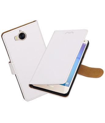 Huawei Y5 2017 / Y6 2017 Effen booktype hoesje Wit