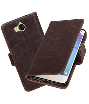 Huawei Y5 2017 / Y6 2017 Pull-Up booktype hoesje Mocca
