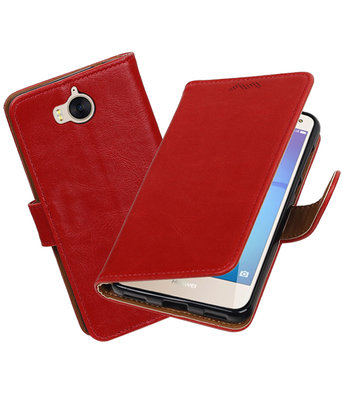 Huawei Y5 2017 / Y6 2017 Pull-Up booktype hoesje Rood