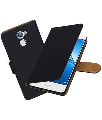 Hoesje voor Huawei Y7 / Y7 Prime Effen booktype Zwart
