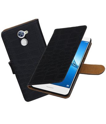 Hoesje voor Huawei Y7 / Y7 Prime Krokodil booktype Zwart