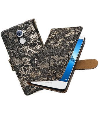 Hoesje voor Huawei Y7 / Y7 Prime Lace booktype Zwart