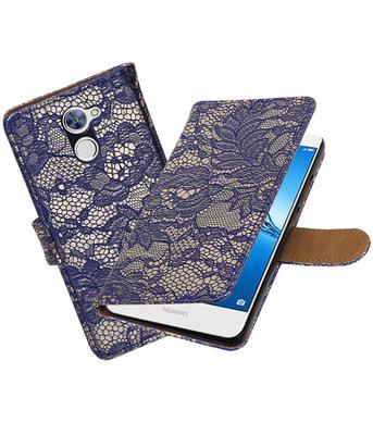 Hoesje voor Huawei Y7 / Y7 Prime Lace booktype Blauw