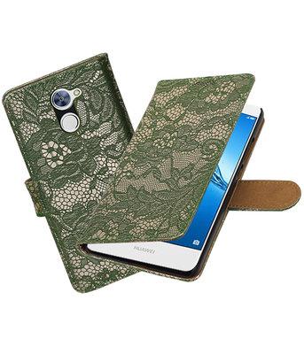 Hoesje voor Huawei Y7 / Y7 Prime Lace booktype Donker Groen