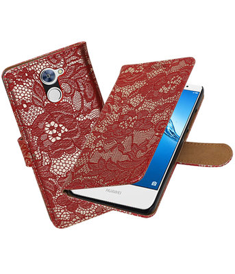 Hoesje voor Huawei Y7 / Y7 Prime Lace booktype Rood