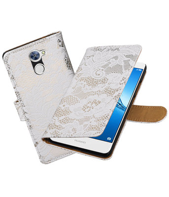 Huawei Y7 / Y7 Prime Lace booktype hoesje Wit