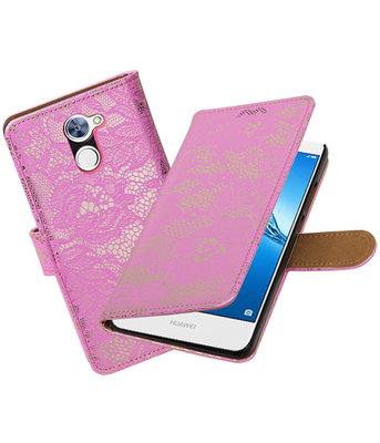 Hoesje voor Huawei Y7 / Y7 Prime Lace booktype Roze
