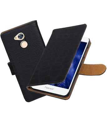 Hoesje voor Huawei Honor 6A Krokodil booktype Zwart