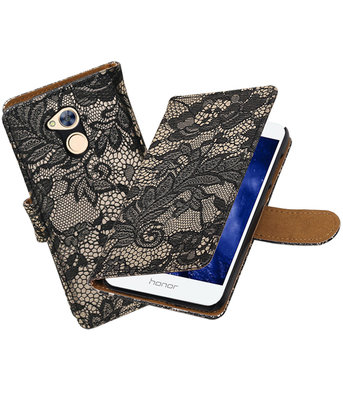 Hoesje voor Huawei Honor 6A Lace booktype Zwart