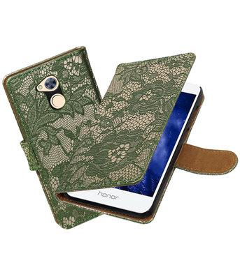 Hoesje voor Huawei Honor 6A Lace booktype Donker Groen