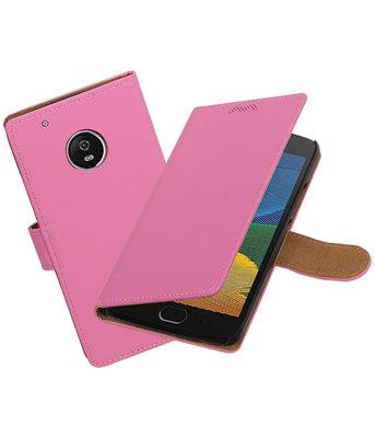 Hoesje voor Motorola Moto G5 Effen booktype Roze