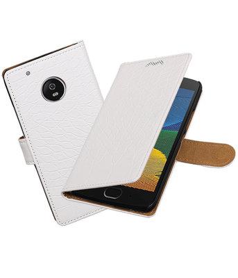 Hoesje voor Motorola Moto G5 Krokodil booktype Wit